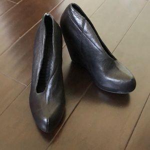 Matiko Black platform leather booties